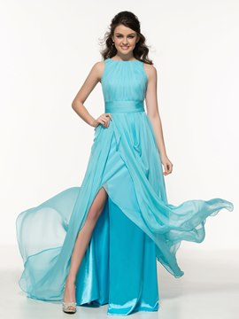 Ericdress A-Line Bateau Pleats Split-Front Prom Dress
