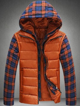 Ericdress Plaid Color Block Hood Warm Men's Cotton Coat