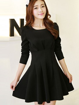 Ericdress Plain Pleated Long Sleeve Casual Dress