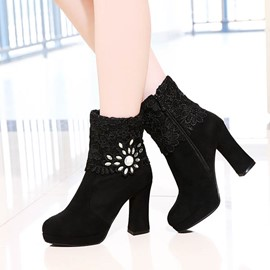 Ericdress Glittering Rhinestone&lace High Heel Boots