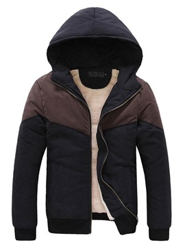 Ericdress Color Block Hood Zip Warm Men's Cotton Coat