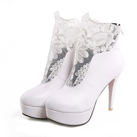 Ericdress Lace Patchwork High Heel Boots