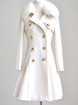 Ericdress Plain Slim Wave Cut Coat