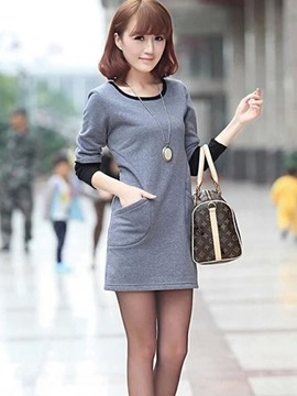 Ericdress Patchwork Straight Korean Casual Dress