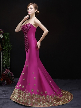 Ericdress Mermaid Sweetheart Appliques Beading Court Train Evening Dress