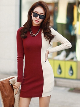 Ericdress Color Block Stand Collar Bodycon Dress