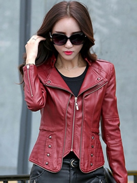 Ericdress Slim Zipper Rivet Jacket