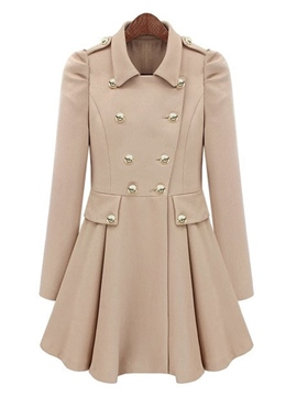 Ericdress Double-Breasted Lapel Trench Coat