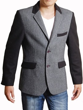 Ericdress Color Block Patched Casual Men's Blazer