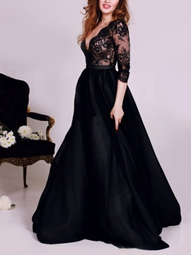 Ericdress Sexy Deep V-Neck 3/4 Length Sleeves Lace Evening Dress