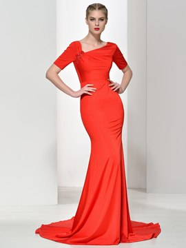 Ericdress V-Neck Short Sleeves Appliques Beading Evening Dress