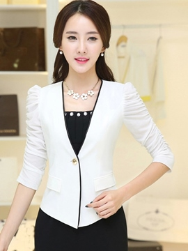 Ericdress Simple Puff Sleeve One Button Blazer