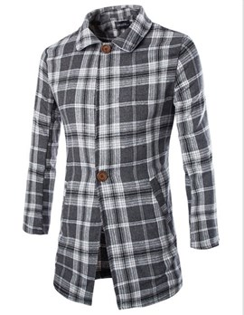 Ericdress Long Plaid Men's Woolen Coat