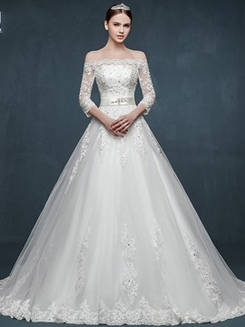 Ericdress Elegant Off The Shoulder 4/3 Length Sleeves Wedding Dress