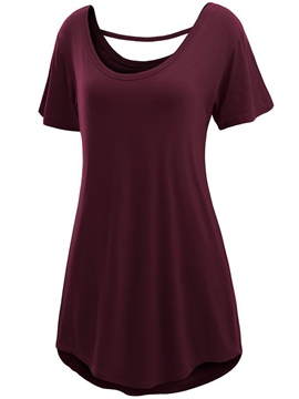 Ericdress Plain Round Neck Short Sleeve T-Shirt
