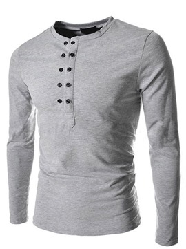 Ericdress Plain Double-Breasted Long Sleeve Pullover Men's T-Shirt