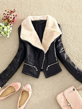 Ericdress Oblique Zipper Fleece Collar Jacket