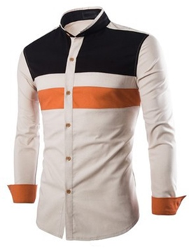 Ericdress Color Block Casual Unique Long Sleeve Men's Shirt