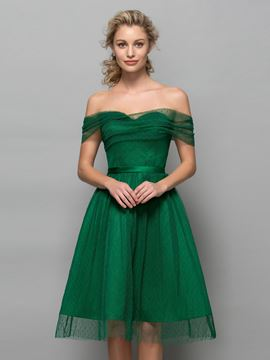 Ericdress Off the Shoulder Pleats Knee-Length Cocktail Dress