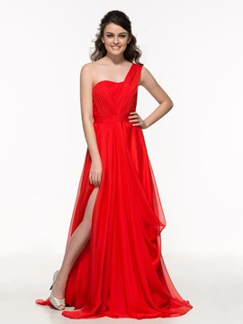 Ericdress One Sholder Pleats Hollow Split-Front Prom Dress