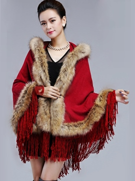 Ericdress Luxurious Faux Fur Patchwork Hooded Cape