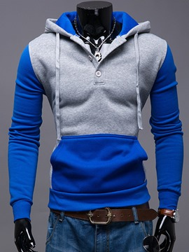 Ericdress Color Block Slim Pullover Men's Hoodie