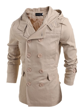 Ericdress Plain Double-Breasted Men's Jacket
