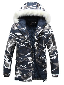 Ericdress Camouflage Fur Collar Thicken Warm Outdoor Wiinter Men's Coat