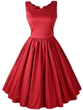 Ericdress Plain Pleated Swing A Line Dress