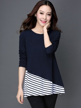 Ericdress Patchwork Stripped T-Shirt