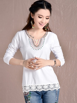 Ericdress Patchwork Lace Ethnic T-Shirt