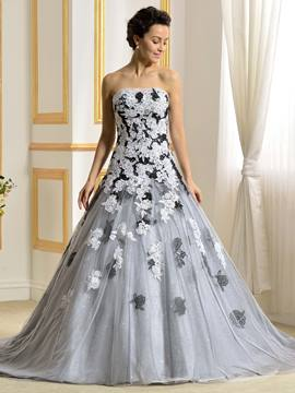 Ericdress Fancy Strapless Black And White Wedding Dress