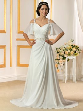 Ericdress Charming A Line Chiffon Beach Wedding Dress