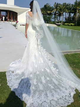 Ericdress Elegant Scoop Half Sleeves Lace Mermaid Wedding Dress