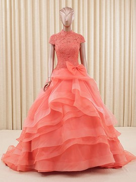 Ericdress Ball Gown High Neck Cap Sleeves Bowknot Lace Tiered Quinceanera Dress