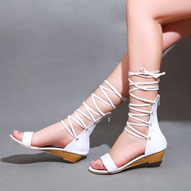 Ericdress Hollow Out Lace up Flat Sandals