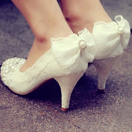Ericdress Princess Lace Bowtie Wedding Shoes