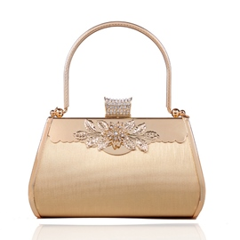 Ericdress Golden Diamante Floral Clutch