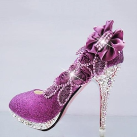 Gorgeous Stiletto Flowers Rhinestone Charming Wedding Shoes