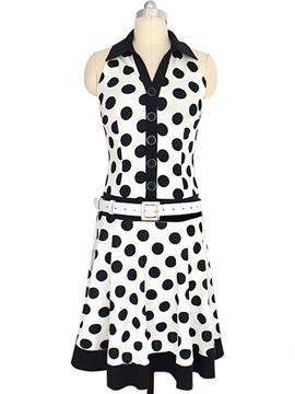 Ericdress Polka Dots Sleeveless Lapel Casual Dress