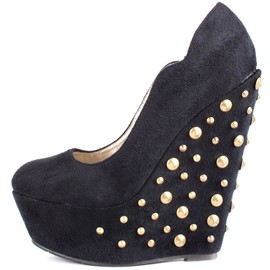 Ericdress Black Rivets Decorated Wedges