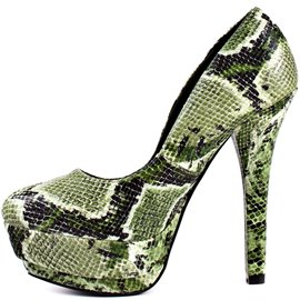Ericdress Green Snake Print High Heel Pumps