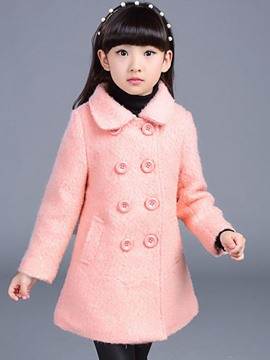 Ericdress Double-Breasted Mid-Length Girls Coat