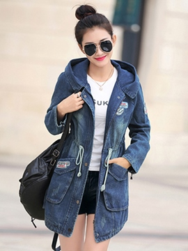 Ericdress Casual Hooded Denim Outerwear