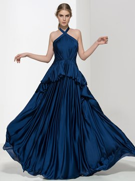 Ericdress Halter Tiered Ruffles Pleats Evening Dress