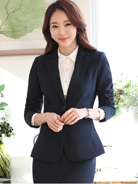 Ericdress Plain Two Button Blazer