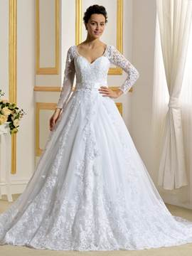 Ericdress Elegant A Line Long Sleeves Wedding Dress