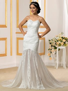 Ericdress Charming Spaghetti Straps Lace Mermaid Wedding Dress