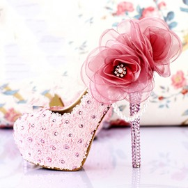 Ericdress Amazing Lace Flower&rhinestone Wedding Shoes