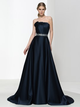 Ericdress Strapless Pleats Beading Rushed Evening Dress